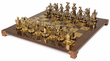 Knights Theme Chess Set Brass and Nickel Pieces - Brown Board