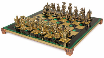 Knights Theme Chess Set Brass and Nickel Pieces - Green Board