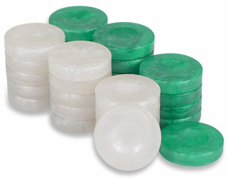 Mother of Pearl Design Backgammon Chips in Green & White - 1.5""