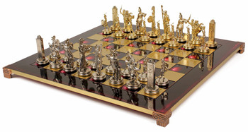 Poseidon Theme Chess Set Brass and Nickel Pieces - Red Board