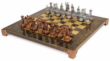 Small Romans Theme Chess Set Antiqued Blue Copper & Copper Pieces - Brown Board