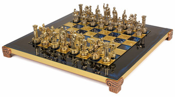 Small Romans Theme Chess Set Brass & Nickel Pieces - Blue Board