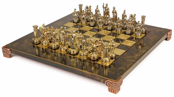 Small Romans Theme Chess Set Brass & Nickel Pieces - Brown Board