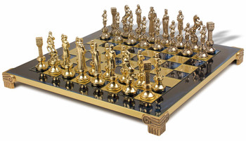 Renaissance Theme Chess Set Brass and Nickel Pieces - Blue Board