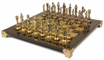Renaissance Theme Chess Set Brass & Nickel Pieces - Brown Board