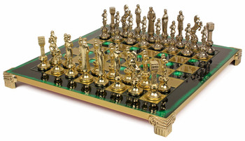 Renaissance Theme Chess Set Brass and Nickel Pieces - Green Board