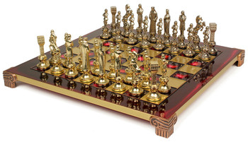 Renaissance Theme Chess Set Brass and Nickel Pieces - Red Board
