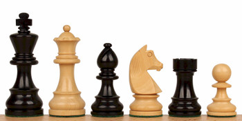 "German Knight Staunton Chess Set in Ebonized Boxwood & Boxwood - 3.25"" King"