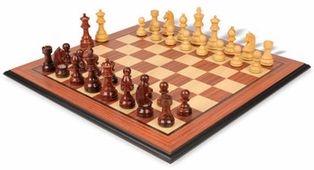 German Knight Staunton Chess Set in Rosewood and Boxwood with Rosewood Molded Chess Board - 3 75 King