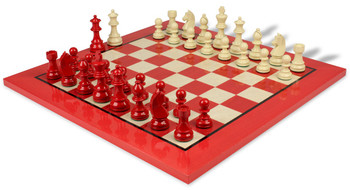 German Knight Staunton Chess Set in High Gloss Red and Ivory with Red and Erable Chess Board - 3 25 King