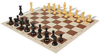 Value Club Plastic Chess Set & Board with Black & Camel Pieces - Brown