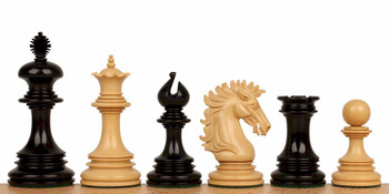 "Wellington Staunton Chess Set in Ebony & Boxwood- 4.25"" King"