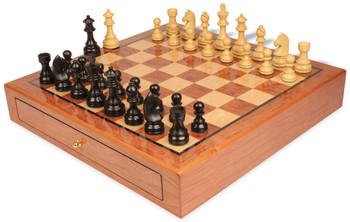 German Knight Staunton Chess Set Ebonized and Boxwood Pieces 3 75 King with Bubinga Case