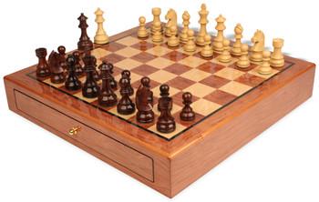 German Knight Staunton Chess Set Rosewood and Boxwood Pieces 3 75 King with Bubinga Case