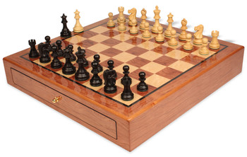 Deluxe Old Club Staunton Chess Set Ebonized and Boxwood Pieces 3 25 King with Bubinga Case