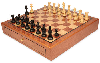 Parker Staunton Chess Set Ebonized and Boxwood Pieces 3 25 King with Bubinga Case