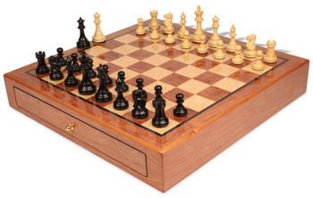 British Staunton Chess Set Ebony and Boxwood Pieces 3 5 King with Bubinga Case