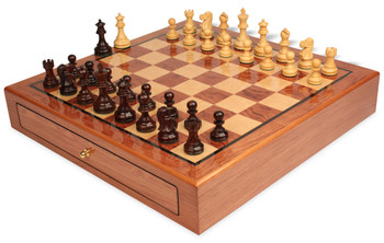 Deluxe Old Club Staunton Chess Set Rosewood and Boxwood Pieces 3 25 King with Bubinga Case