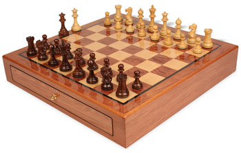 Parker Staunton Chess Set Rosewood and Boxwood Pieces 3 25 King with Bubinga Case