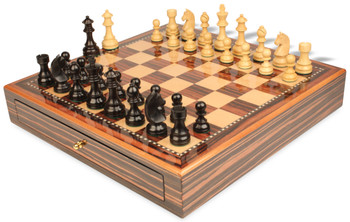 German Knight Staunton Chess Set Ebonized and Boxwood Pieces 3 75 King with Macassar Case