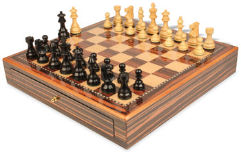 French Lardy Staunton Chess Set Ebonized and Boxwood Pieces 3 75 King with Macassar Case