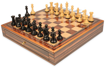 New Exclusive Staunton Chess Set Ebony and Boxwood Pieces 3 5 King with Macassar Case