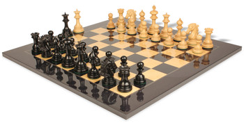 Wellington Staunton Chess Set in Ebony and Boxwood with Black and Ash Burl Chess Board - 4 25 King