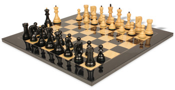 Yugoslavia Staunton Chess Set in Ebonized Boxwood and Boxwood with Black and Ash Burl Chess Board - 3 875 King