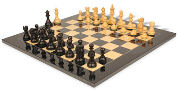 Deluxe Old Club Staunton Chess Set in Ebonized Boxwood and Boxwood with Black and Ash Burl Chess Board - 3 75 King