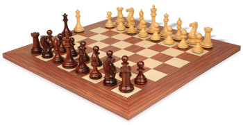 New Exclusive Staunton Chess Set Rosewood and Boxwood with Rosewood and Maple Deluxe Chess Board - 3 5 King