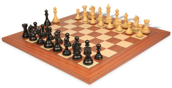 Fierce Knight Staunton Chess Set in Ebonized and Boxwood with Mahogany and Maple Deluxe Chess Board - 3 5 King