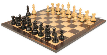 Deluxe Old Club Staunton Chess Set in Ebonized Boxwood with Macassar Chess Board - 3 75 King