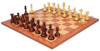 New Exclusive Staunton Chess Set in Rosewood and Boxwood with Rosewood Chess Board - 3 5 King