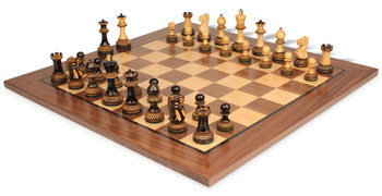 Parker Staunton Chess Set in Burnt Boxwood with Walnut Chess Board - 3 75 King
