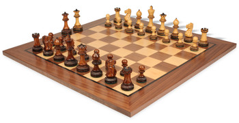 Parker Staunton Chess Set in Burnt Golden Rosewood with Walnut Chess Board - 3 75 King