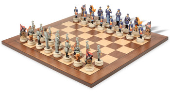 Large Civil War Theme Chess Set with Walnut and Maple Chess Board