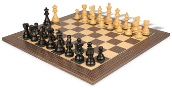 French Lardy Staunton Chess Set in Ebonized Boxwood with Tiger Ebony and Maple Deluxe Chess Board - 3 75 King