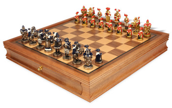 Landsknecht Theme Chess Set Brass and Nickel Hand Painted Pieces with Walnut Chess Case