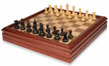British Staunton Chess Set in Ebonized Boxwood with Walnut Chess and Backgammon Case - 3 King