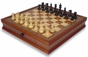 British Staunton Chess Set in Ebonized Boxwood with Walnut Chess Case - 3 King