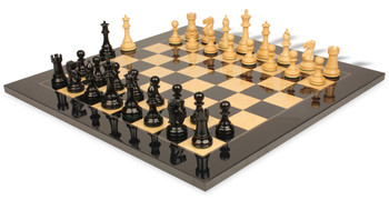 British Staunton Chess Set in Ebony and Boxwood with Black and Ash Burl Chess Board - 3 King