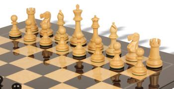 British Staunton Chess Set in Ebony Boxwood with Black and Ash Burl Chess Board - 4 King