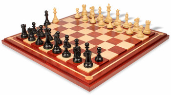 "British Staunton Chess Set in Ebony & Boxwood with Mission Craft Padauk Chess Board - 4"" King"