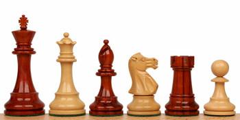 """British Staunton Chess Set in African Padauk & Boxwood - 3"""" King"""