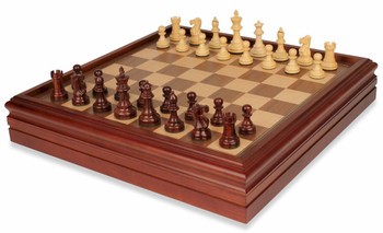 British Staunton Chess Set in Rosewood and Boxwood with Walnut Chess and Backgammon Case - 3 King