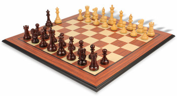 British Staunton Chess Set in Rosewood and Boxwood with Rosewood Molded Chess Board - 3 5 King