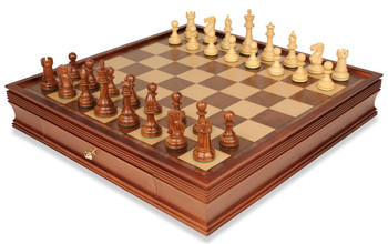 British Staunton Chess Set in Golden Rosewood and Boxwood with Large Walnut Chess Case - 4 King