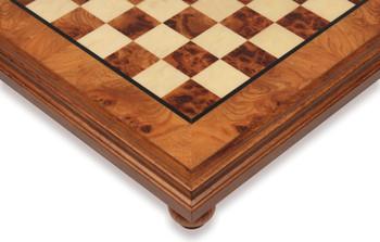 "Elm Root & Erable Framed Chess Board - 1.5"" Squares"
