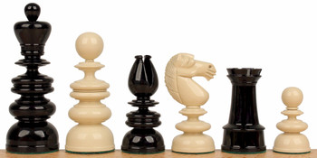 "Calvert Antique Reproduction Chess Set in Black & Ivory - 4.4"" King"