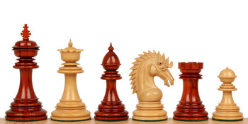 """Cyrus Staunton Chess Set in African Padauk & Boxwood - 4.4"""" King"""